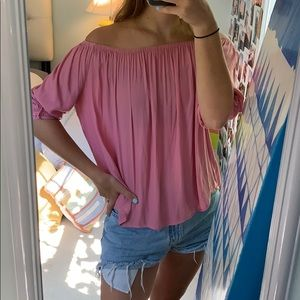 Cute off the shoulder pink top
